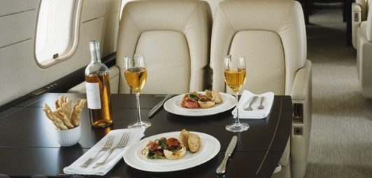 From simple to elegant, many dining options are available on our jet charter flights